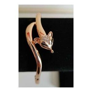 Rose Gold & Crystal Fox Bangle Bracelet
